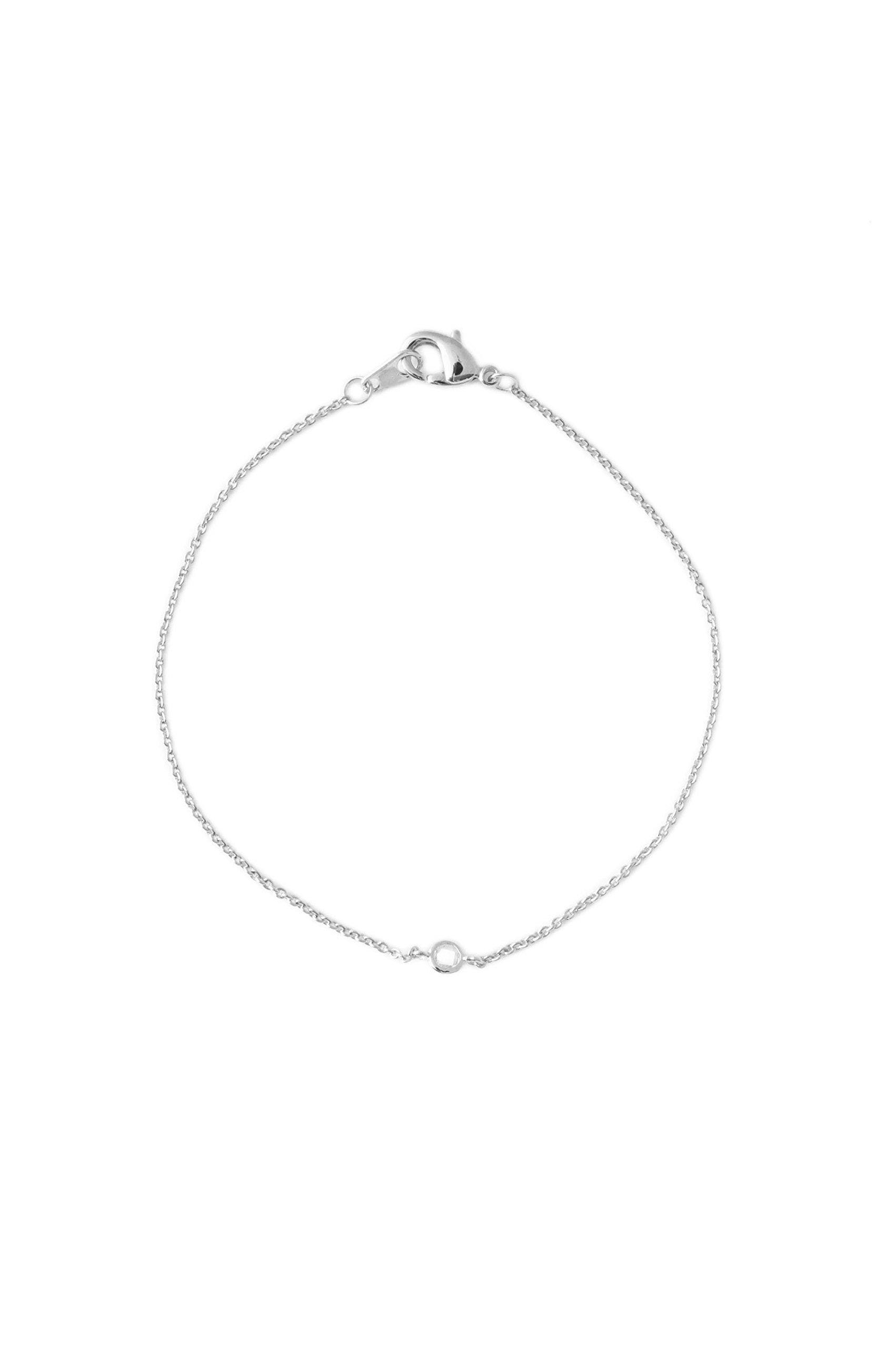 HONEYCAT Single Tiny Crystal Bezel Bracelet in Rhodium Plate   Minimalist, Delicate Jewelry (Silver)
