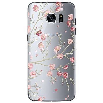 22f2e4d25e25d7 WE LOVE CASE Samsung S7 Hülle Silikon Galaxy S7 Handyhülle Transparente  Weich Backcover TPU Henna Blume