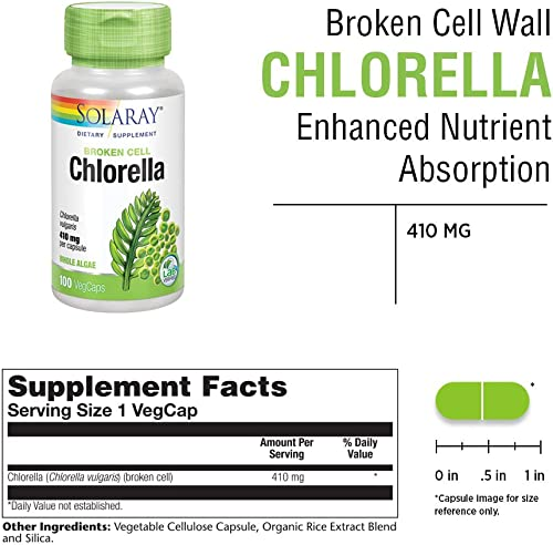 Solaray Broken Cell Chlorella 410 mg 100 VegCaps