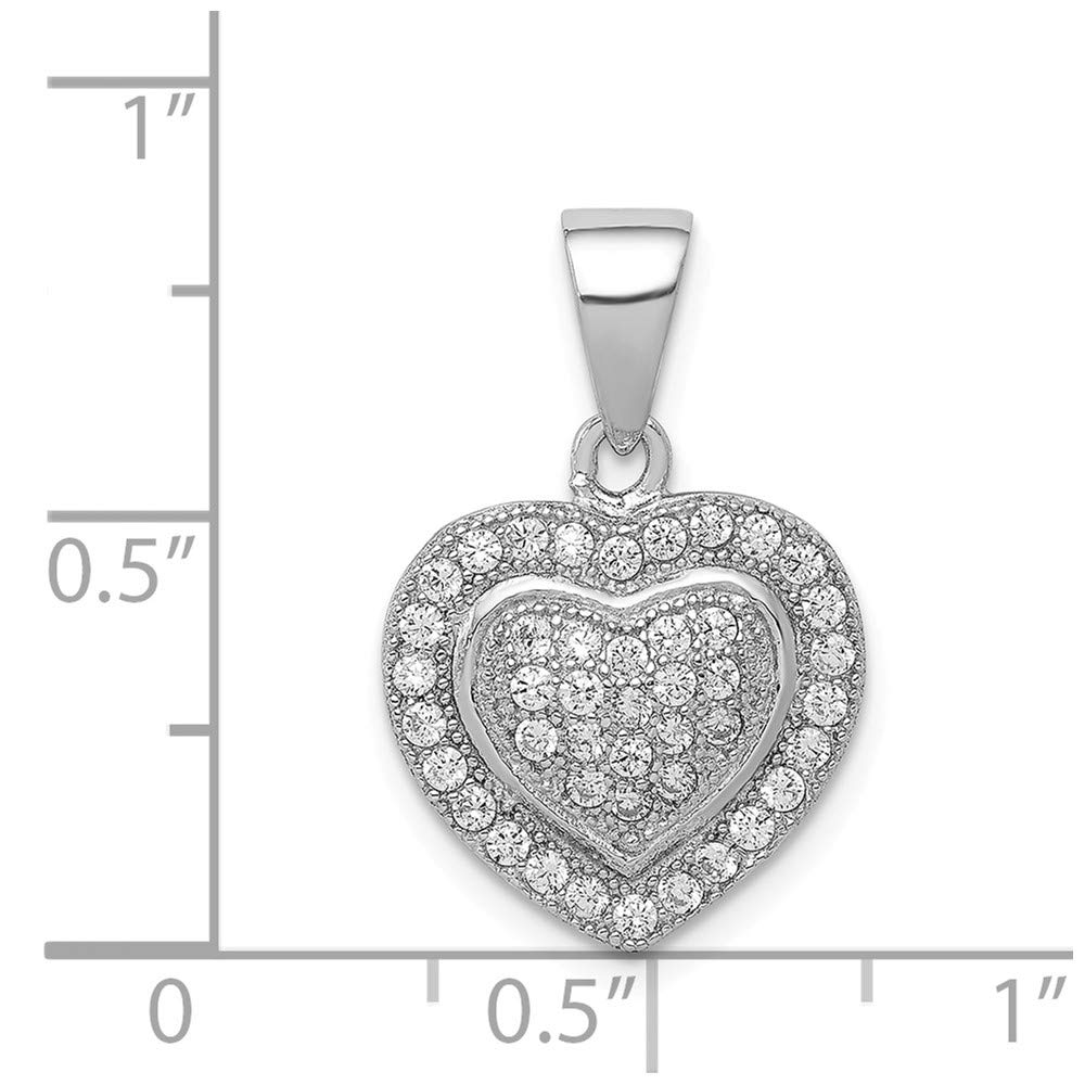 925 Sterling Silver Rhodium Plated Polished Cubic Zirconia Heart Shaped Pendant