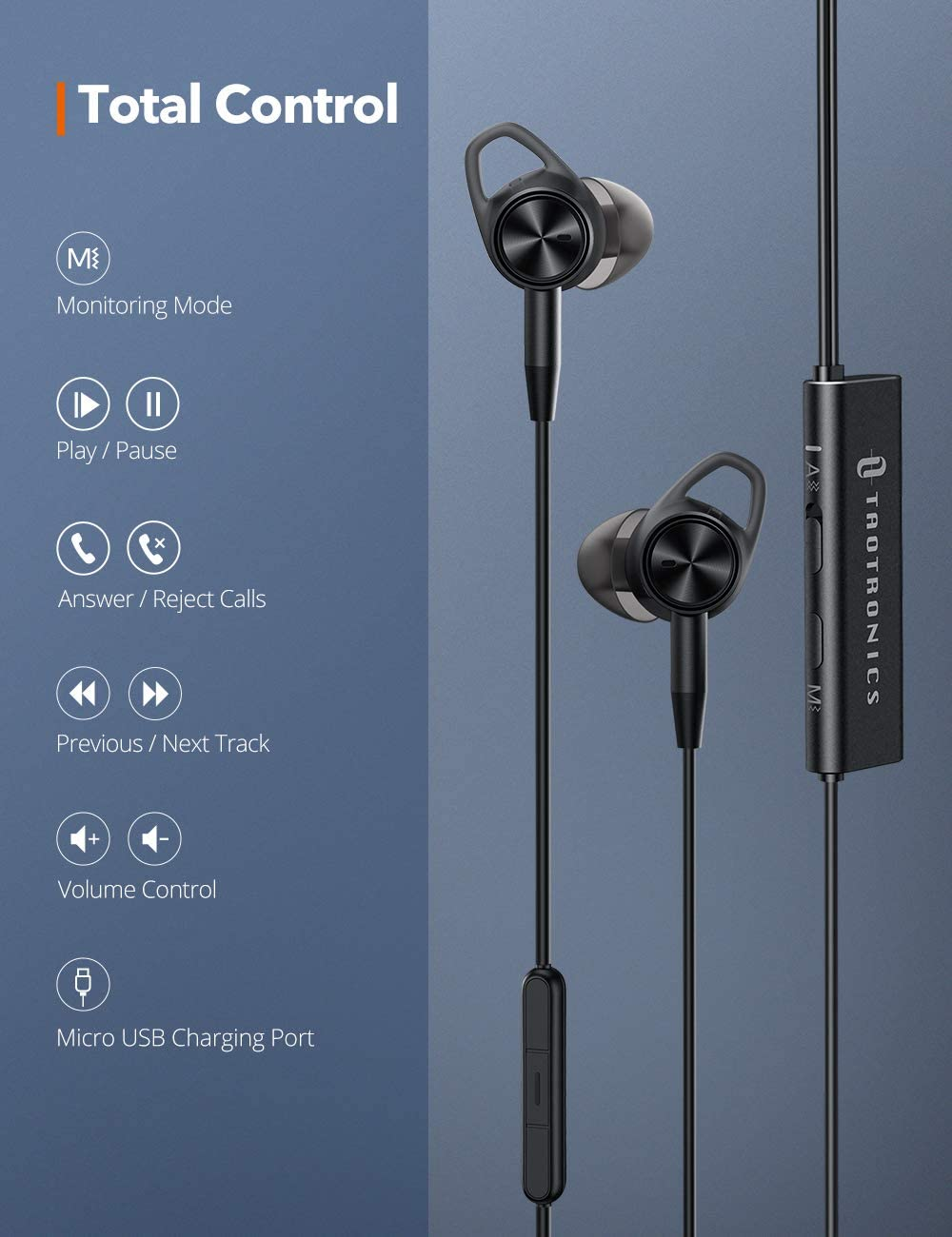 2019 Upgrade Wired Earbuds Wired Headphones with 15 Hours Playtime Aware Mode TaoTronics Active Noise Cancelling Headphones