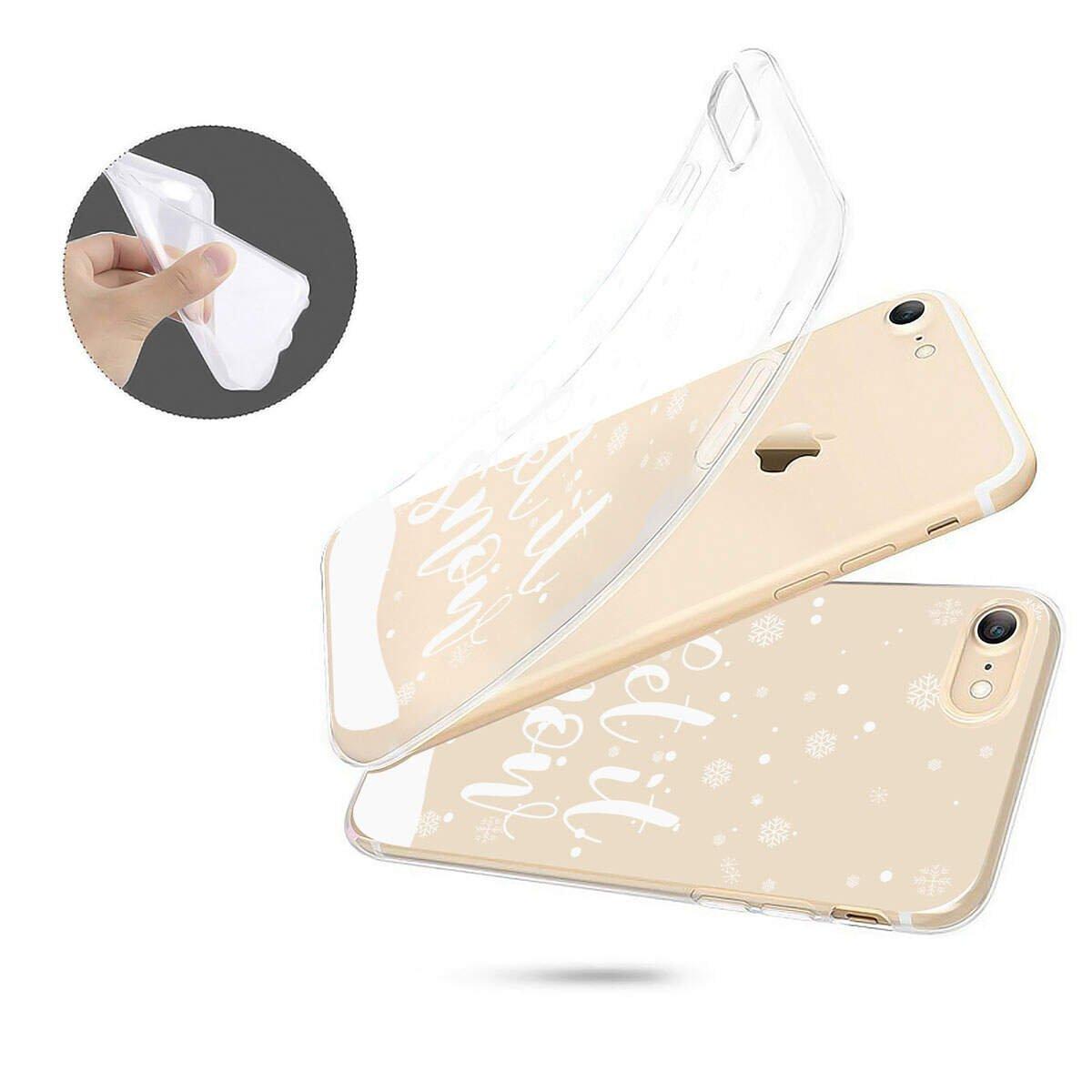 Finoo Iphone X Weiche flexible lizensierte Silikon-Handy-H/ülle Transparente TPU Cover Schale mit Weihnachten Motiv Tasche Case mit Ultra Slim Rundum-schutz Let it Snow