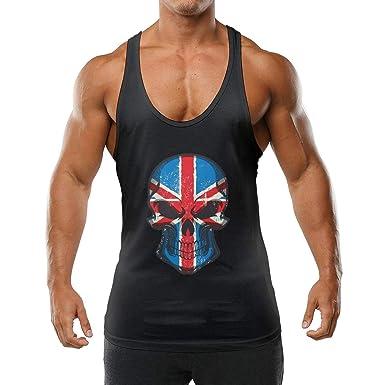 05dea3f29f83d Amazon.com  GTGTH Mens Sleeveless Tank Tops England Flag Skull Patriotic  Vest Sport Stringer Waistcoats  Clothing
