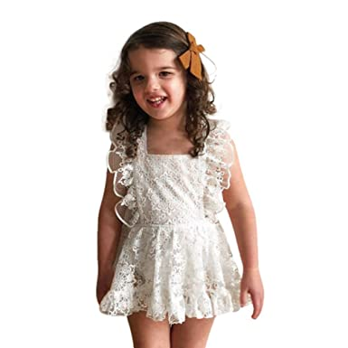 9062c584a5 Sunbona Toddler Newborn Baby Girl Cute Lace Sleeveless Halter Neck Romper  Jumpsuit Bodysuit Outfits Clothes (