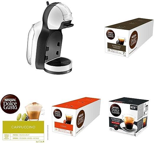 Pack Delonghi Dolce Gusto Mini Me EDG305.WB - Cafetera de cápsulas, 15 bares de presión, color blanco y negro + 15 packs de café Dolce Gusto variado: Amazon.es: Hogar