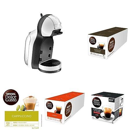 Pack DeLonghi Dolce Gusto Mini Me EDG305.WB - Cafetera de cápsulas, 15 bares de presión, color blanco y negro + 3 packs de café Dolce Gusto Con Leche