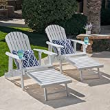 GDF Studio Tampa White Reclining Wood Adirondack Chair with Footrest Set of Two (2) For Sale