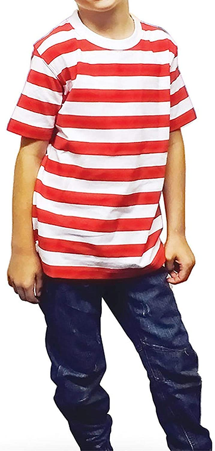 New Angies Children/'s Kids Unisex Red /& White Striped T-shirt Stripes School show book week Casual Summer Top