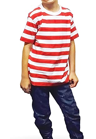 0241c719 New Angies Children's Kids Unisex Red & White Striped T-shirt Stripes  School show book week Casual Summer Top: Amazon.co.uk: Clothing