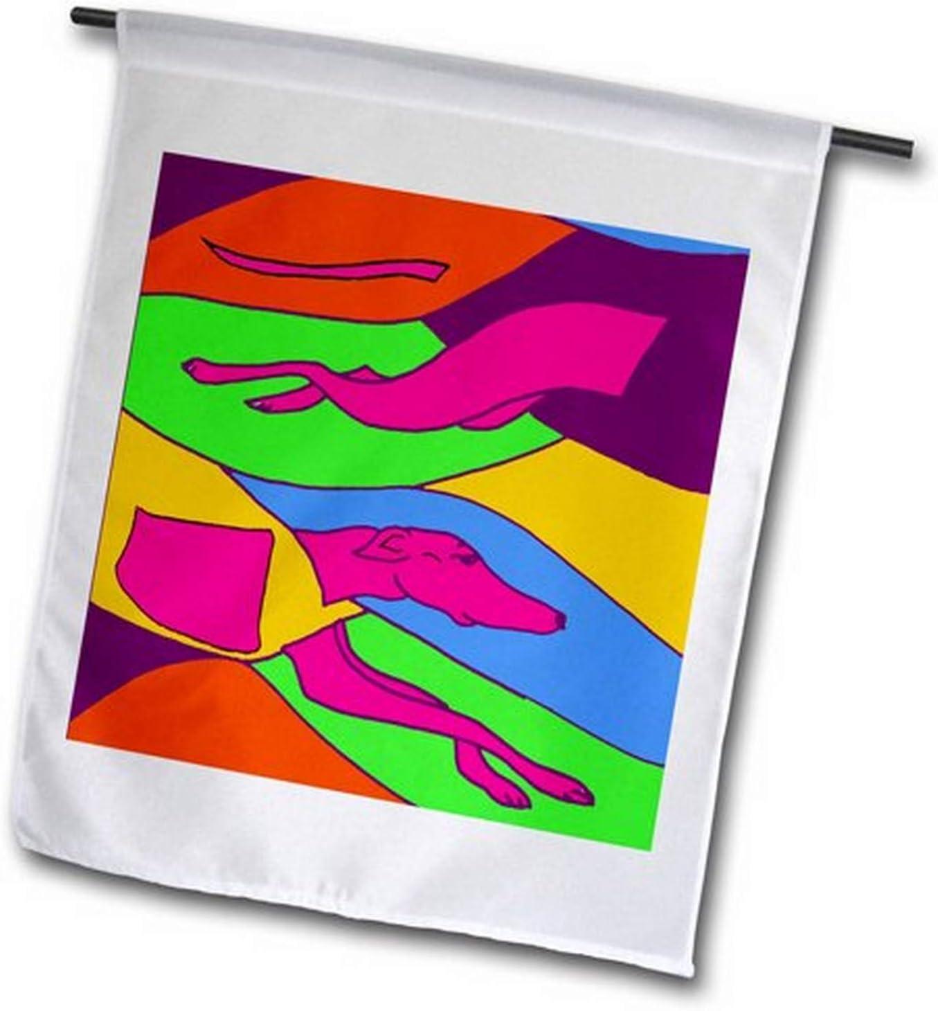 3dRose fl_216345_1 Fun Tropical Colors Racing Greyhound Dog Abstract Art Garden Flag, 12 by 18