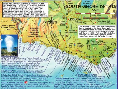 kauai surf spots map Kauai Hawaii Adventure Guide Franko Maps Waterproof Map Franko kauai surf spots map
