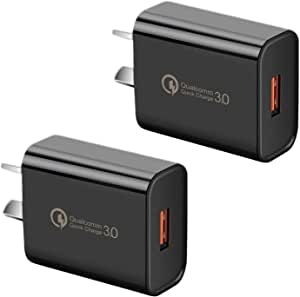HEYMIX QC 3.0 Charger, 2-Pack,18W Quick USB Wall Charger for Wireless Charger Adapter, Fast Charging Plugs (Black)