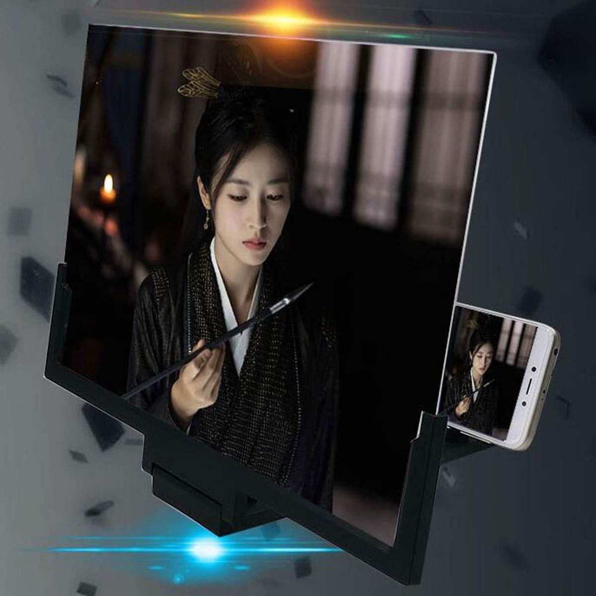 Qiyuezhuangshi Mobile Phone Screen Amplifier HD 14 Inch Full Screen Watching TV Drama Old Man Reading Newspaper Extended Mirror Desktop Bracket Smart Phone Universal Black,Beautiful