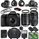 Canon EOS 80D 24.2MP DSLR Camera with Canon EF-S 18-135mm f/3.5-5.6 IS USM Lens + Tamron 70-300mm AF Lens + 2pc 32GB SD Cards + Extra Battery + Auxiliary Lens Kit + Flash + 6pc Filter Kit + Case