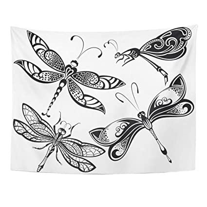 dadee0088 Emvency Tapestry Mandala 60x80 Inch Home Decor Tattoo Dragonfly Abstract  Asian Beautiful Beauty Butterfly Creative Drawing