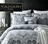 Tahari Home Luxury Bohemian Duvet Cover Luxury Boho Style Medallion Print in Blue Grey 3 Piece Bedding Set (Queen, Silver Grey)