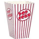 Tebery Porte-boîtes de boîtes de popcorn Conteneurs Cartons Sacs en papier Boîte à rayures, rouge et blanc, 48pcs