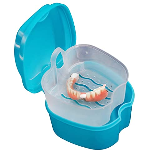 Oyedens Dentadura caja de baño caja Dental caja de almacenamiento de dientes falsos con contenedor de red colgante (A)