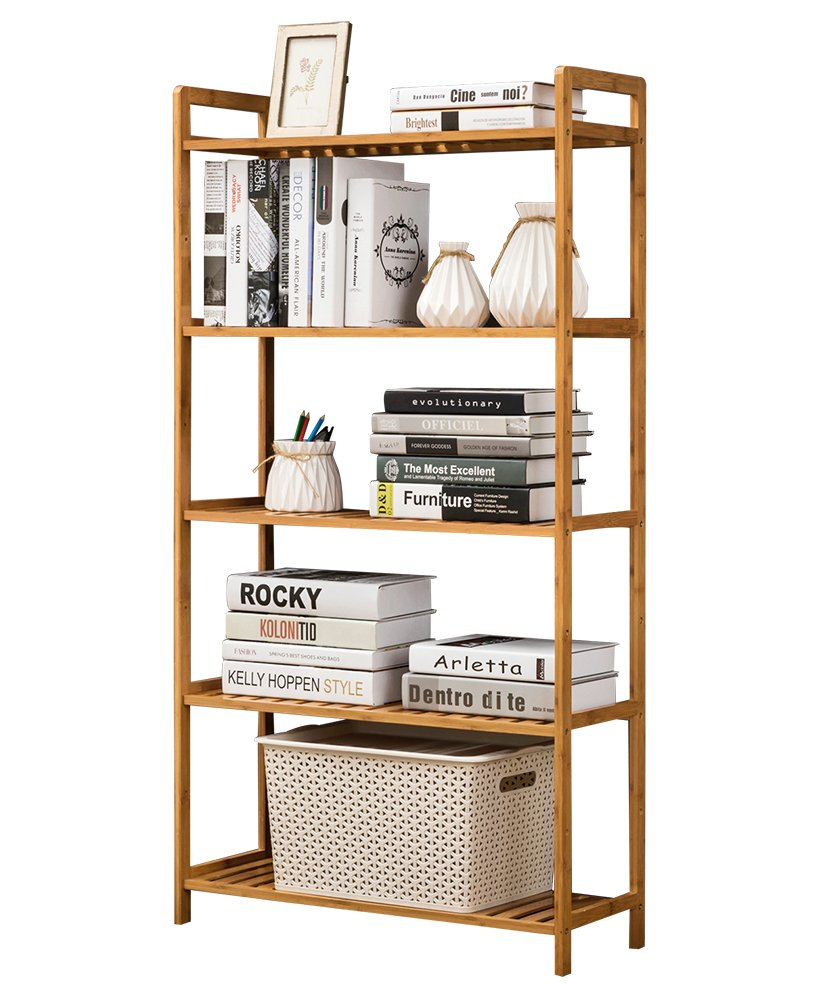 COPREE Bamboo 5-tier Utility Shelf Shelving Unit Adjustable Display Rack Multifunctional Storage organizer Shelves freestanding Bathroom Kitchen Living Room Holder