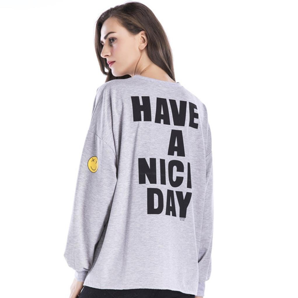 Women Blouse Big size,Todaies Women Long Sleeve Plus Size Sweater Printed Letters Loose Blouse Casual Tops (L, Gray)