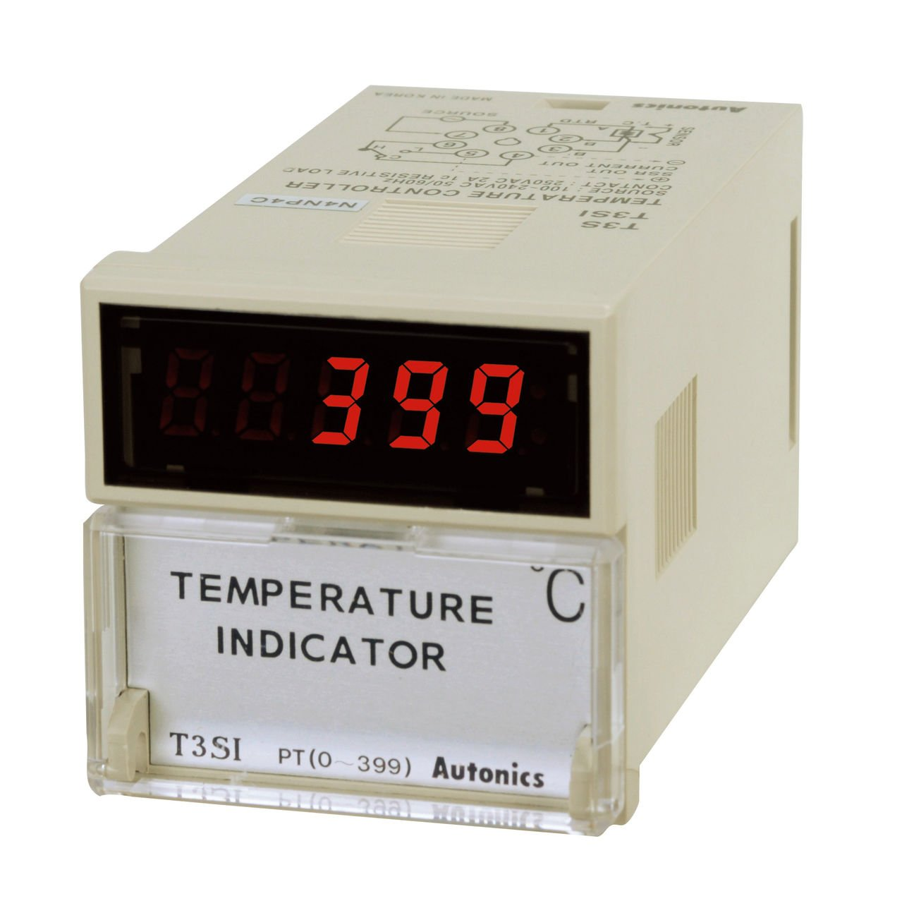 Autonics T3SI-N4NJ4C Temperature Indicator, 1/16 DIN, J Thermocouple Input, 399 C, 100-240 VAC by Autonics USA, Inc