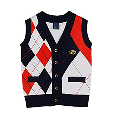 Baby Boys Toddler V-Neck Cable Knit Pullover Sweater Cardigan Waistcoat Vest