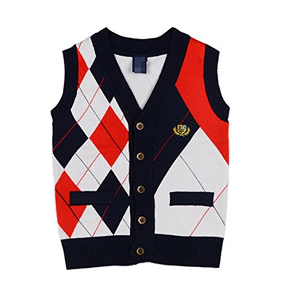JELEUON Baby Boys Toddler V-Neck Cable Knit Pullover Sweater Cardigan Waistcoat Vest vstde001