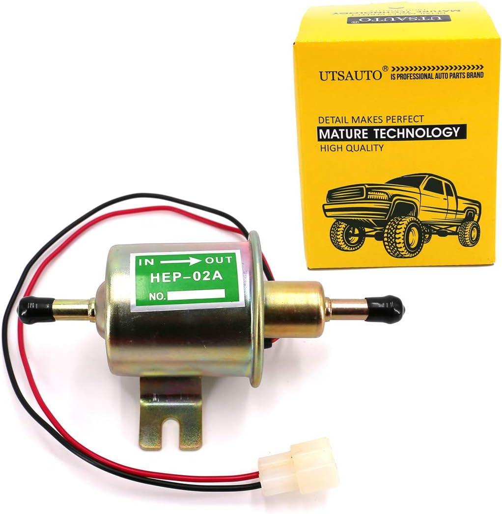 UTSAUTO Inline Electric Fuel Pump 12V Heavy Duty Low Pressure Gas Diesel Lawnmower Fuel Pump 4-7 PSI Engine HEP-02A