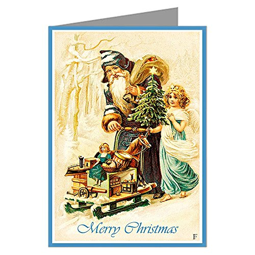 Six 5x7 Vintage Holiday Greeting Cards In A Boxed Set Of Traditionl Saint Nick As Santa With An Angel Delivering Toys