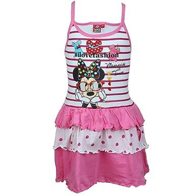 b2c05e2f1c64c Minnie Robe Fille avec frou frou en coton Sans manches - Rose - 2 ...