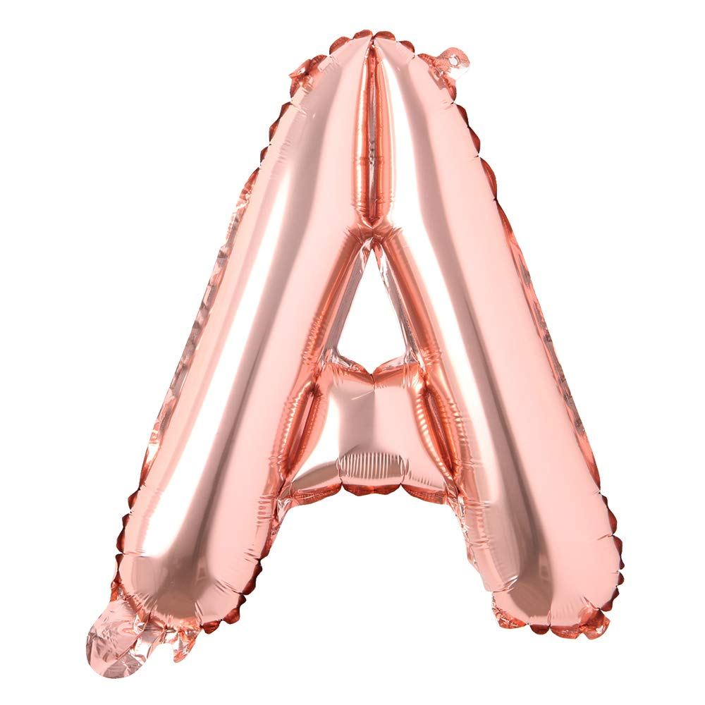 "16"" inch Single Rose Gold Alphabet Letter Number Balloons Aluminum Hanging Foil Film Balloon Wedding Birthday Party Decoration Banner Air Mylar Balloons (16 inch Rose Gold A)"