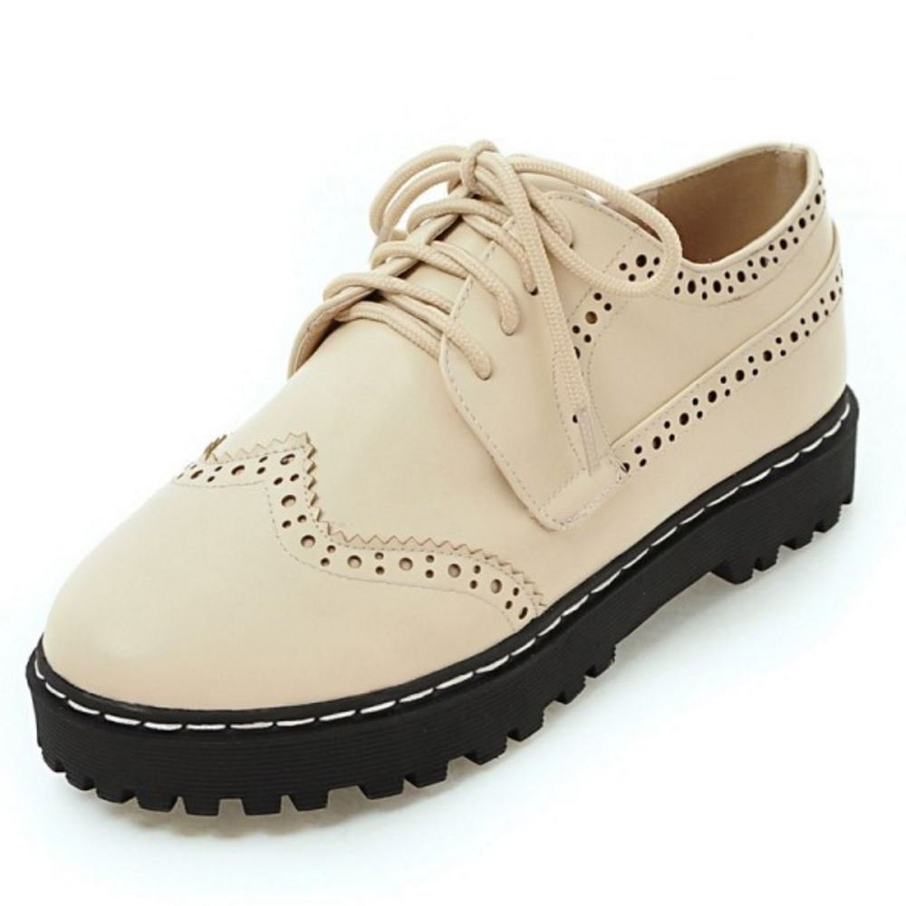 Zanpa Femmes 19248 Casual Femmes Oxford Chaussures Oxford lacets Plateformee Escarpins Beige f85be0d - shopssong.space