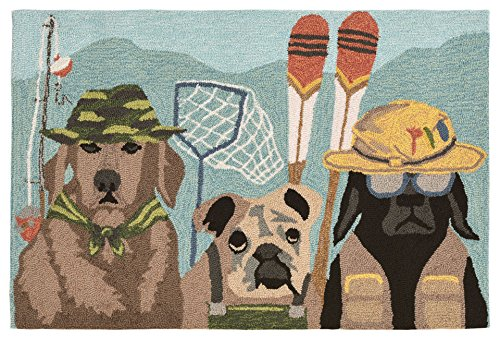 Liora Manne FT112A75344 Folly Canine Anglers Rug, Indoor/Outdoor, Multicolor