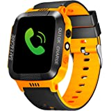 Kids Smart Watches GPS Tracker Phone Call for Boys Girls SIM Card Slot Digital Wrist Watch Touchscreen Cellphone Camera Anti-Lost Wristband Bracelet SOS Learning Toy for Kids Christmas (Black+Orange)