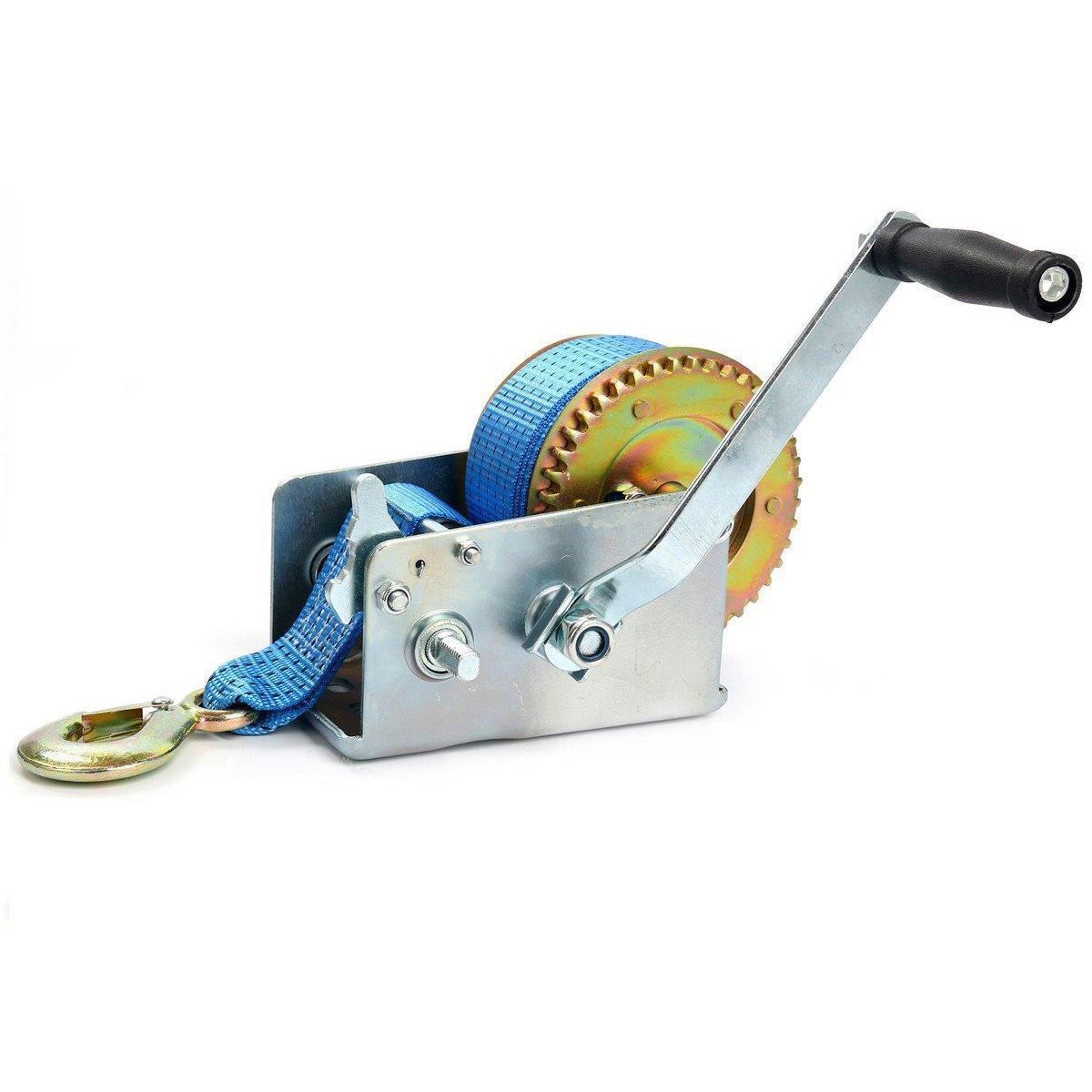 8MILELAKE Hand Crank Strap Gear Winch 2500lbs Hand Winch Polyester Strap ATV Boat Trailer Heavy Duty