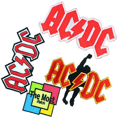 Lot of 4 (3+1) ACDC AC/DC Music Band Logo Heavy Metal Punk Rock Rockabily Jacket T-shirt Embroidered Iron / Sew On (Hard Rock Dc Halloween)