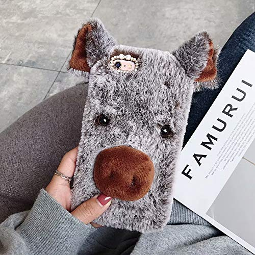 for iPod Touch 5/6 Case, QKKE Colorful Fuzzy Winter Fur Warm Plush Fluffy Fur Soft TPU Case Cute Luxury Comfy Faux Fur Case Stripe Stitching Colour Protective Cover (Pig/Brown) (Pig Ipod Touch 5 Case)