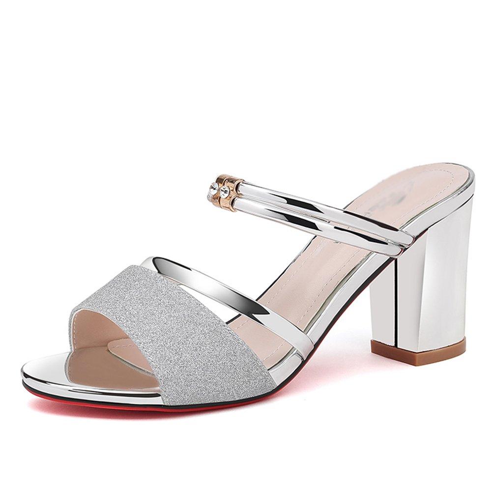 d5e606c4bf4 ZCJB Sandalias Mujer Tacones Altos Gruesas Con Sandalias Y Zapatillas  Sandalias Romanas Moda Mujer Zapatos Casuales ( Color   La Plata
