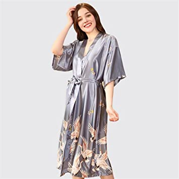OHlive - Albornoz para Mujer, diseño de grúas, Largo Tipo Vestido, para Fiestas de SPA o Uso Diario, Gris, X-Large: Amazon.es: Hogar