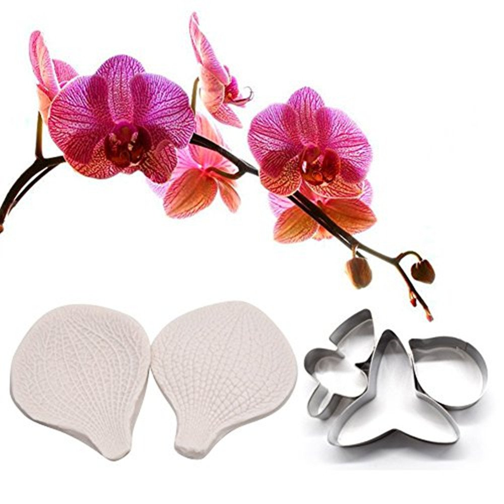 AK ART KITCHENWARE Gum Paste Moth Orchid Petal Decoration Tool Leaf and Flower Tool Kit Stainless Steel Cookie Cutter Set Silicone Veining Mold Petal Sugar Flower Making Tool A312&VM004