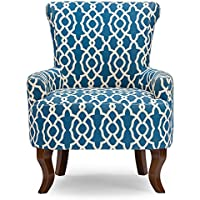 Baxton Studio Claudette Modern Dark Blue Patterned Fabric Armchair