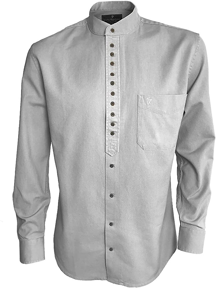 Men's Vintage Workwear Inspired Clothing Traditional Irish Grandfather Collarless Shirts for Men $46.99 AT vintagedancer.com