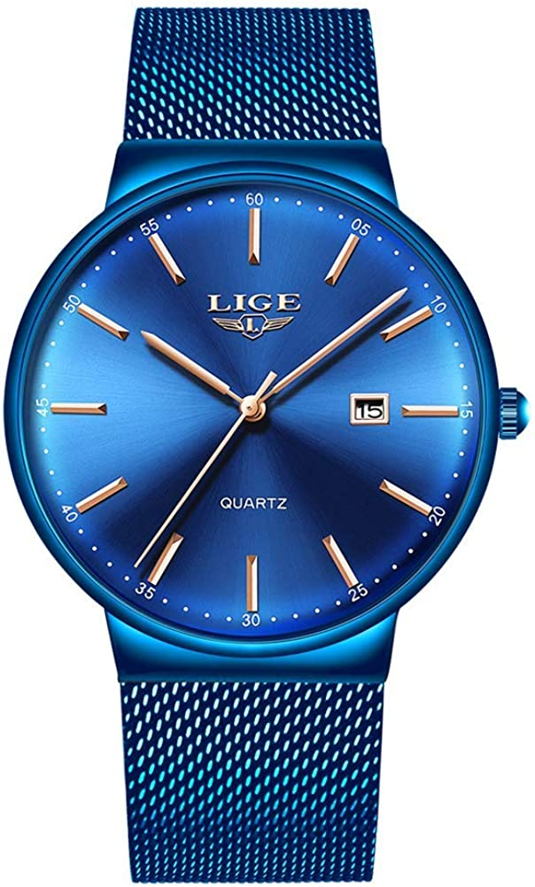 LIGE Mens Watches Ultra-Thin Waterproof Stainless Steel Mesh Wrist Watches