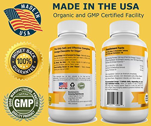 Amazing Nutritionals Omega-3 Fish Oil Chew-able Tablet for Dogs, 120 tabs - HealthCare Too