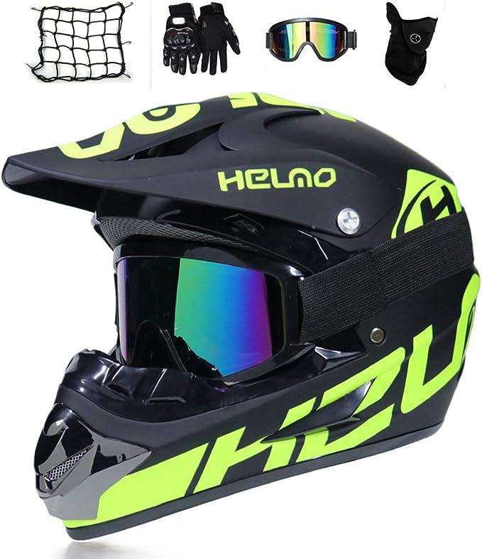 Mrdear Motocross Helm Set Herren Motorrad Crosshelm Brille Handschuhe Maske Motorrad Netz Schwarz Grün Fullface Mtb Helm Kinder Off Road Cross Helm Mopedhelm Motorradhelm M Auto