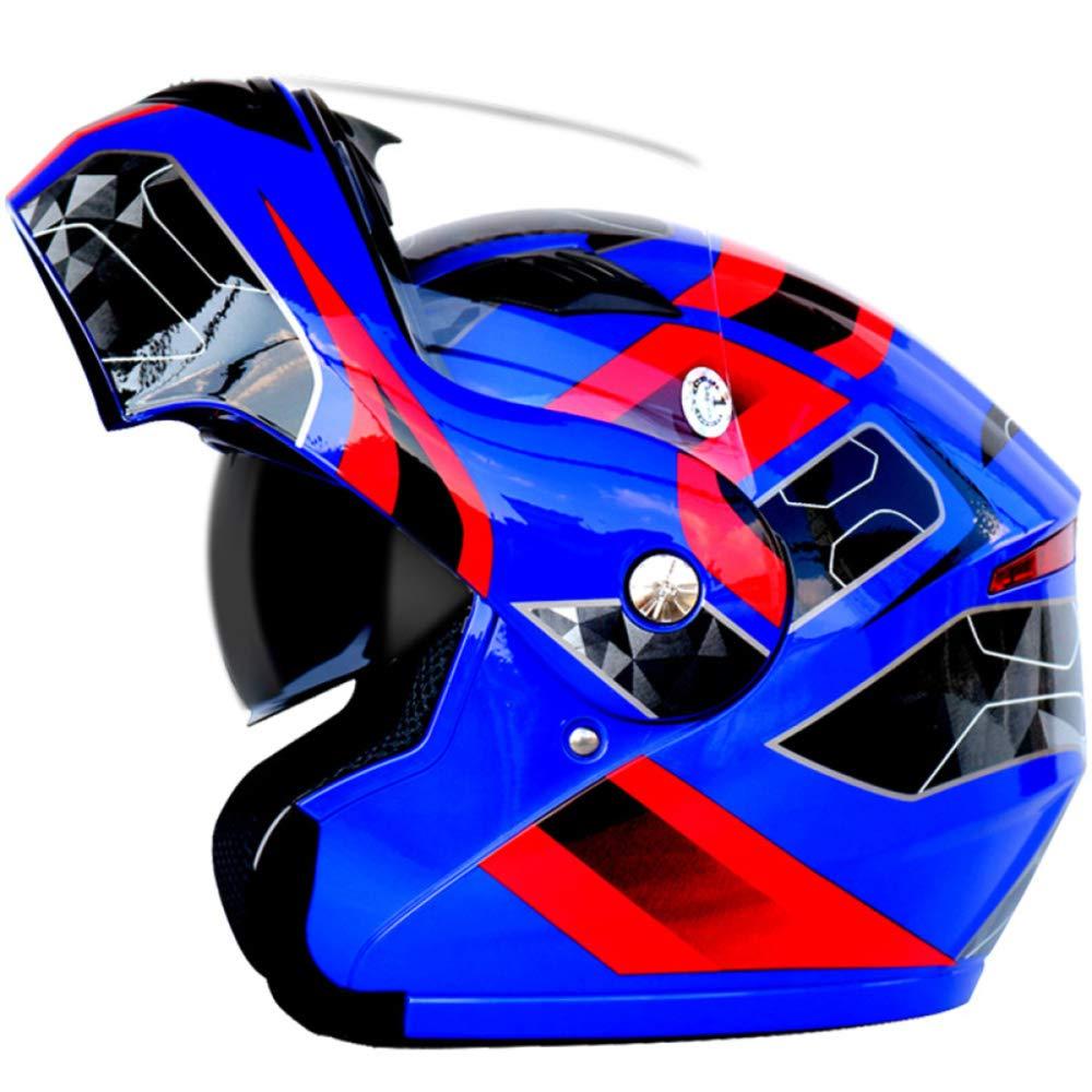 Casco De Motocicleta Bluetooth para Adultos,Casco Integral De Carreras De Locomotoras Todoterreno para Hombres Y Mujeres J/óvenes,Solapa Frontal Antivaho De Doble