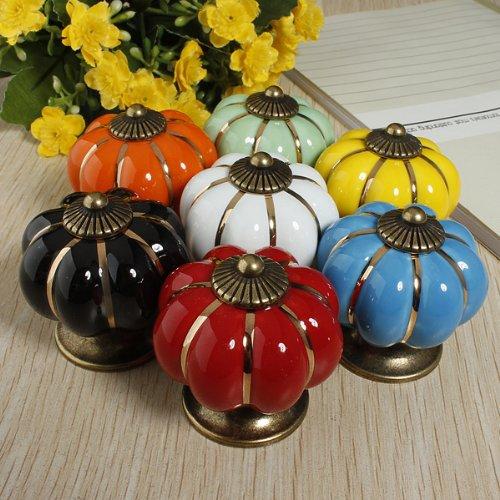 5 Pcs Cabinet Closet Door Dresser Drawer Ceramic Knobs (Bronze) - 8