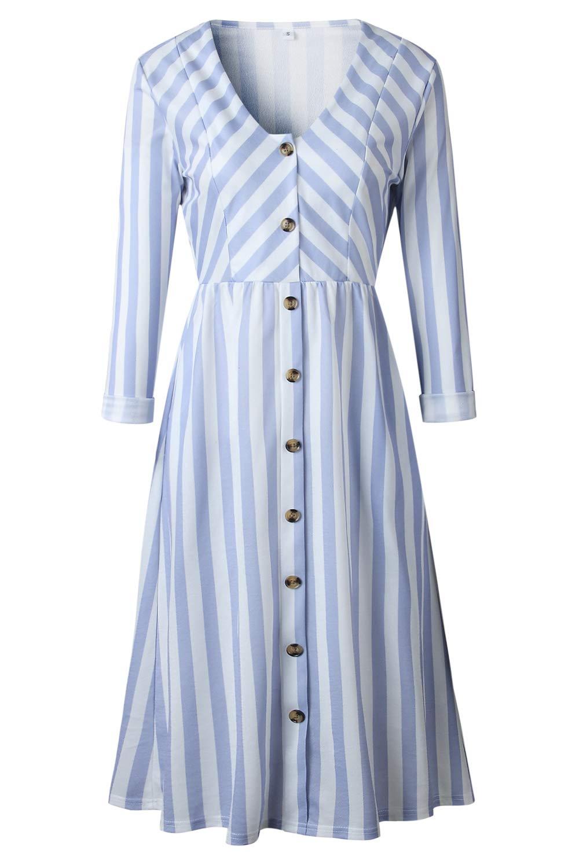 Assivia Womens Summer Floral Print Strap Casual Button Midi Dress Pockets