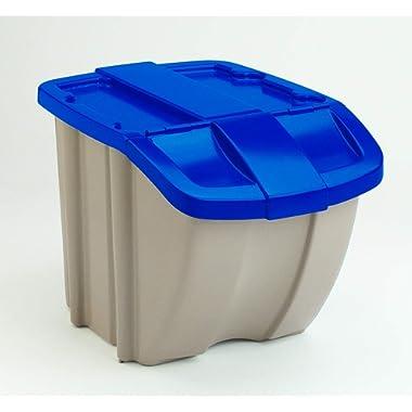 Suncast BH181812 Storage Trend 18 Gallon / 72 Quart Stacking Tote Bin, Blue