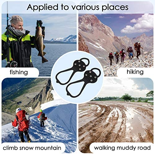 LACE INN 2 Pairs Non Slip Gripper Spike, Ice Grippers Traction Cleats Snow Shoe Spikes Grips Crampons with 10 Steel Studs Cleats